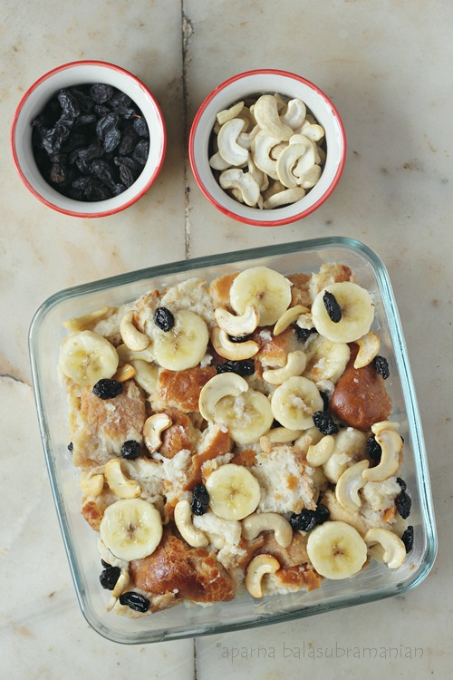 Unbaked Banana Bread Pudding