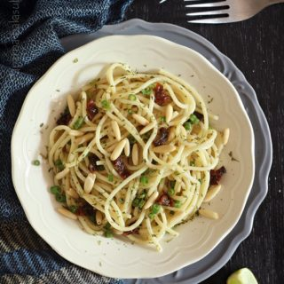 Lime Garlic Spaghetti with Onion Scapes & Dried Tomatoes