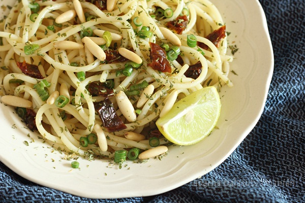 Lime Garlic Spaghetti with Onion Scapes & Dried Tomatoes horz